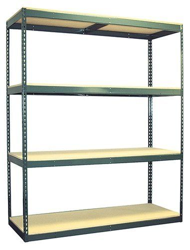 Boltless Warehouse Shelving Unit 4-72W7218WH by Action Wholesale Products. $164.66. Rivet System® Boltless Shelving. 1,200 lbs Weight Capacity Per Shelf. Easy to Assemble, No Nuts or Bolts Requried. Heavy-Duty 14 Gauge Steel. Particle Board Decking. Boltless shelving unit from Action Wholesale products. Series 1 heavy duty model holds high weight capacities of up to 1,000 lbs per shelf.