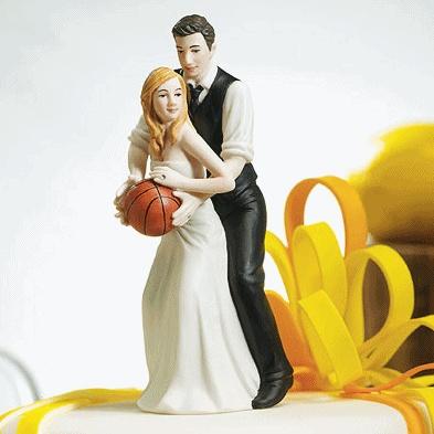 Basketball Dream Team Couple Cake Topper (Caucasian)