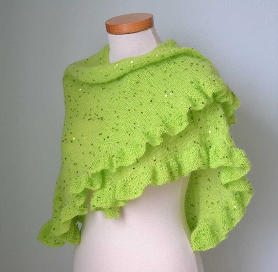 Neon green knited capelet shawl with sequins