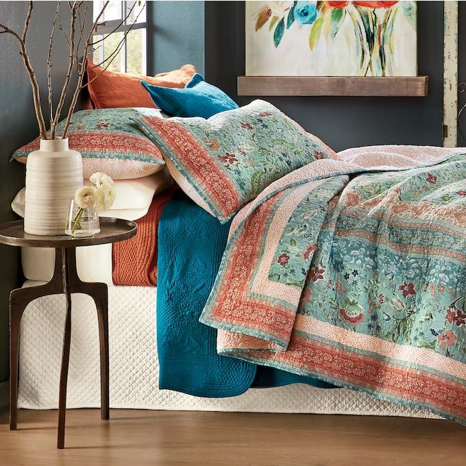Anita Oversized Quilt And Sham Oversized King Quilts Bed Spreads Floral Bedspread