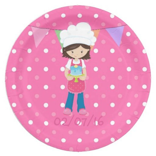 Girl's Cupcake Baking Birthday Party Personalized 9 Inch Paper Plate