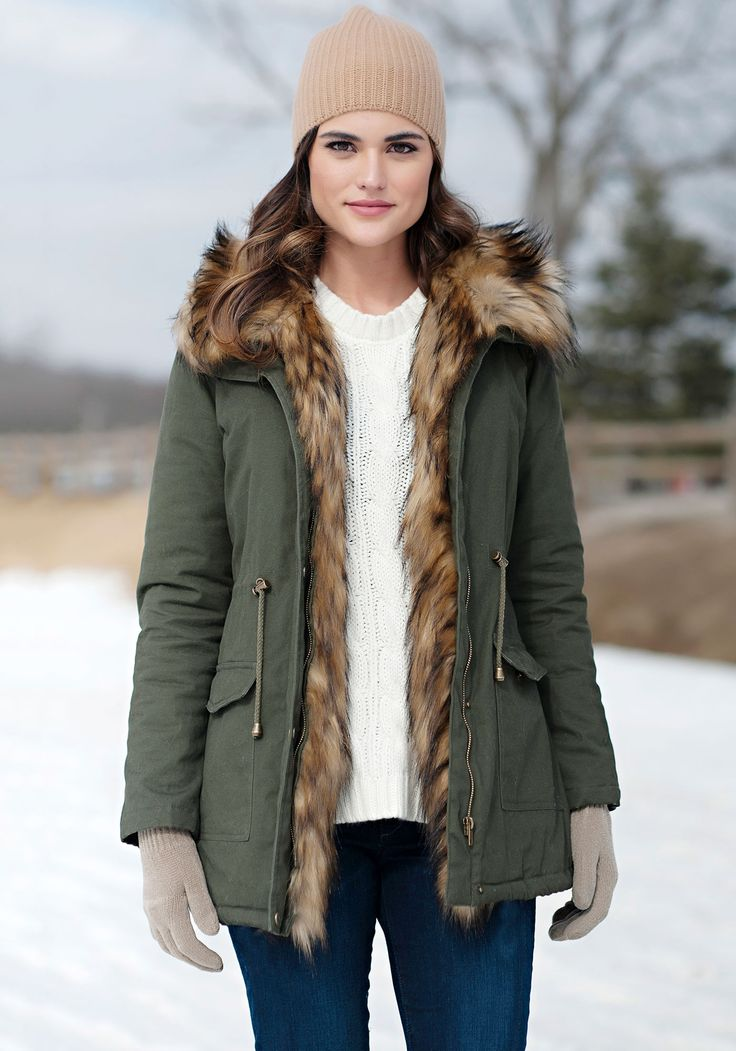 Donna Salyers' Fabulous-Furs Green Military-Style Faux Fur-Lined Anorak
