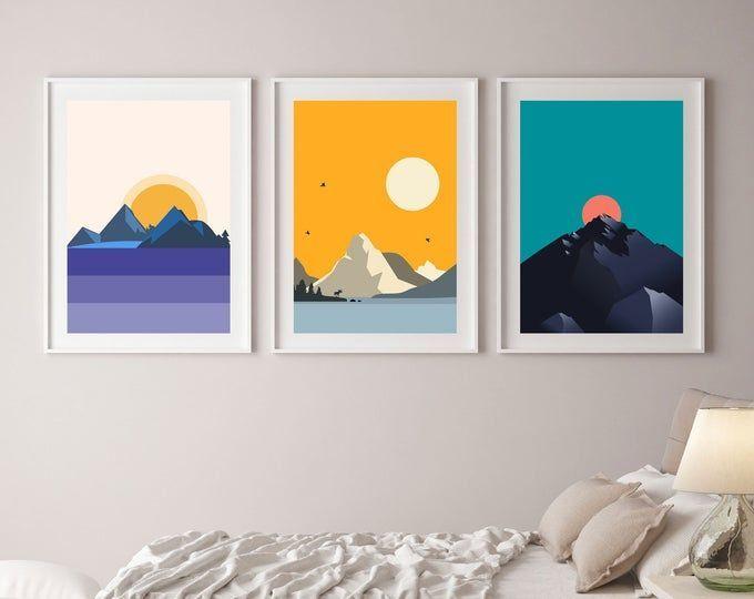 Mid Century Modern Art Mid Century Modern Wall Art Midcentury Etsy Triptych Wall Art Geometric Wall Art Geometric Art Prints