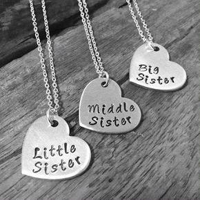 Schwester-Halskette, passende kleine Schwester nahen Schwester und große Schwester-Collier-Set 3, Geschenk für große Sis mittleren Sis kleinen Sis