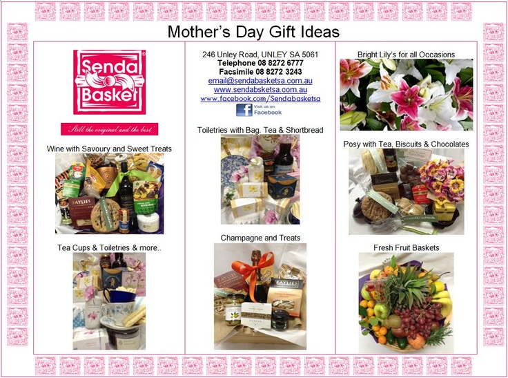 Selecton of Gifts and ideas for Mum's on Mother's Day