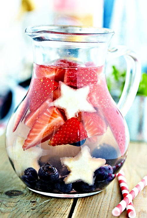 Red White  Blue Sangria    Ingredients:    Strawberries, sliced, blueberries      pineapple, cut into star shapes,   2 bottles dry white wine,   1 cup triple sec,   1/2 cup berry-flavored vodka,    1/2 cup fresh lemon juice,   1/2 cup simple syrup.    Combine ingredients in a large pitcher  stir. Chill in the refrigerator for at least four hours.