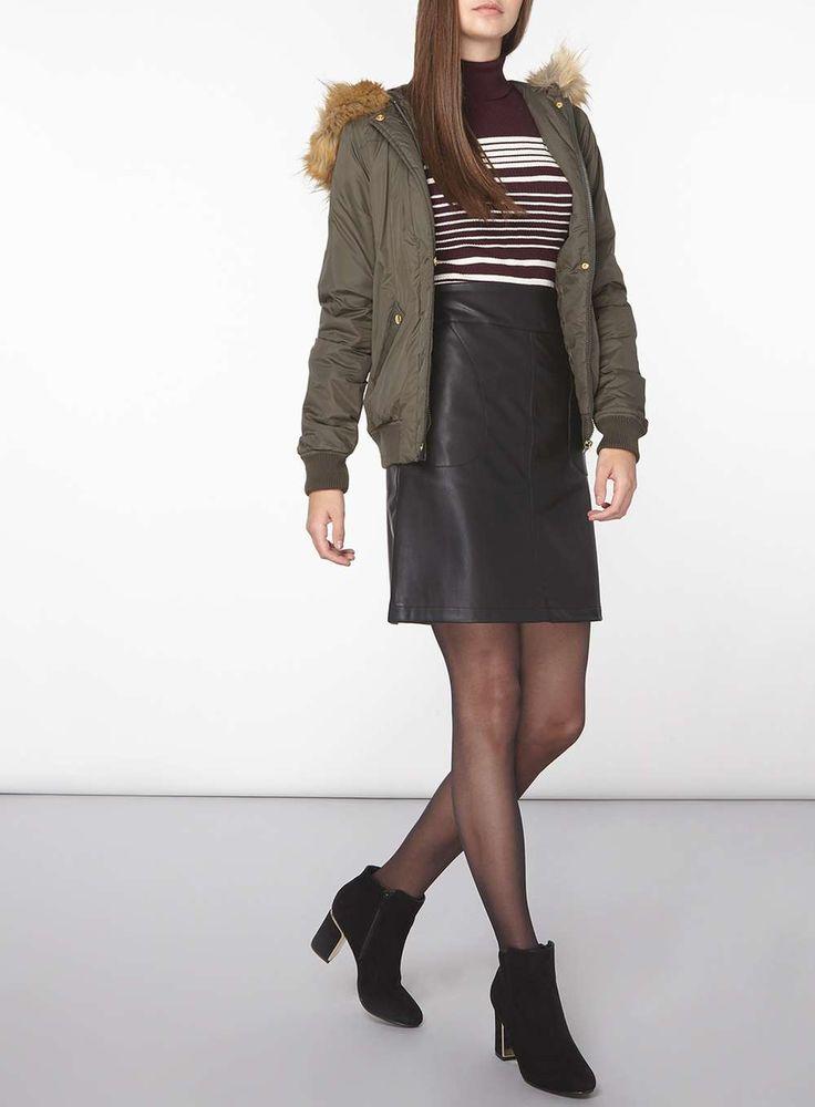 Womens **Tall Faux Fur Hooded Bomber Jacket- Khaki