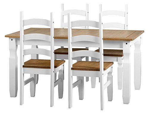 Seconique Corona 5Fuß Esstisch mit 4weiß CORONA Stühle-Weiß/Kiefer, gewachst