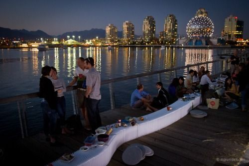 Date: 12 August 2010Location: along seawall, Olympic Village, VancouverDinner Guests: 80