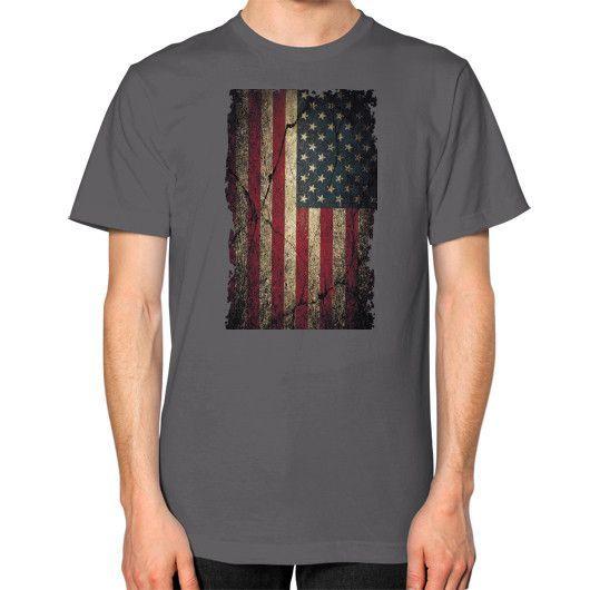 American Flag Ripped Grunge Unisex T-Shirt (on man)