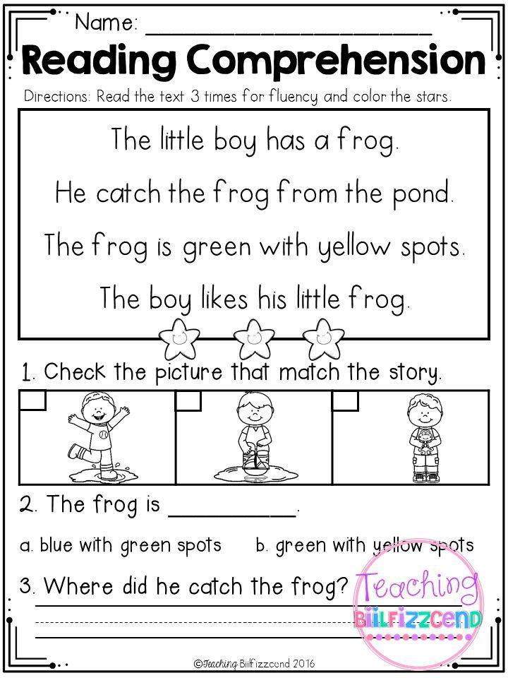 Kindergarten Reading Comprehension (Spring Edition) Reading Comprehension,  Reading Comprehension Kindergarten, Kindergarten Reading Worksheets