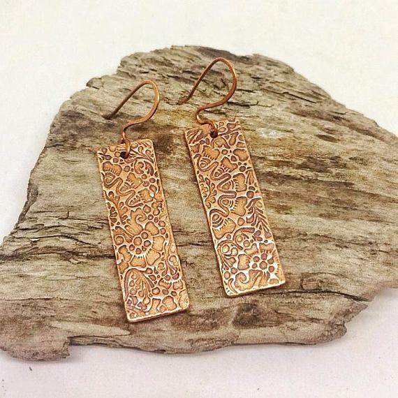 Copper textured rectangle drop earrings for women Copper