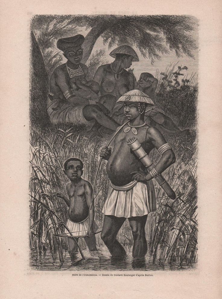 French Engraving from 1860- African Tribe in Ousumboua, Africa by reveriefrance on Etsy