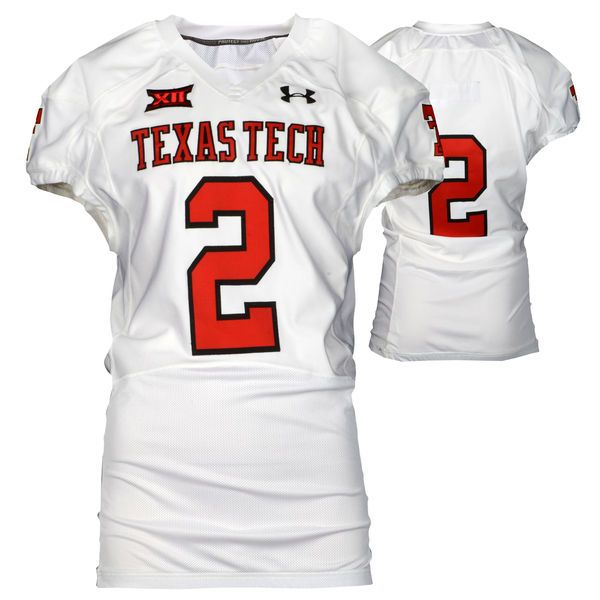 Texas Tech Red Raiders Fanatics Authentic Game-Used White #2 Jersey used during victories against the Arkansas Razorbacks and Texas Longhorns during the 2015 Season - Size 44 - $199.99