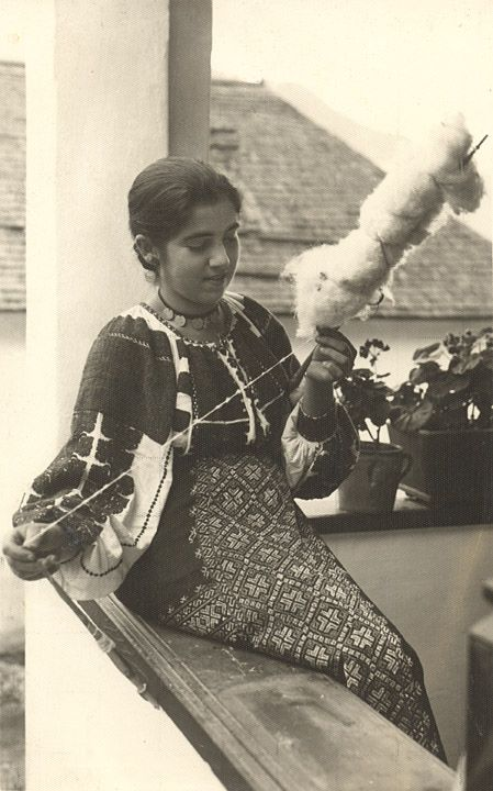 Romania Gallery / Rucar Girl Spinning Postcard