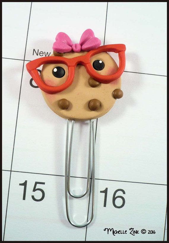 Planner Clip Smart Cookie Polymer Clay Page by michellesclaybeads