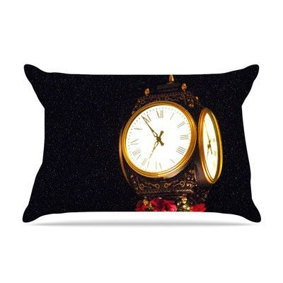 KESS InHouse Xmas Clock by Robin Dickinson Featherweight Pillow Sham Size: King, Fabric: Woven Polyester