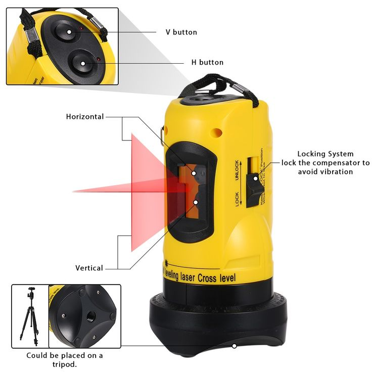 Household 2 Lines Cross Laser Level Device 360 Rotary Cross Line Leveling Can Be Used with Overrange Alarm Outdoor Receiver Vertical & Horizontal Sales Online - Tomtop