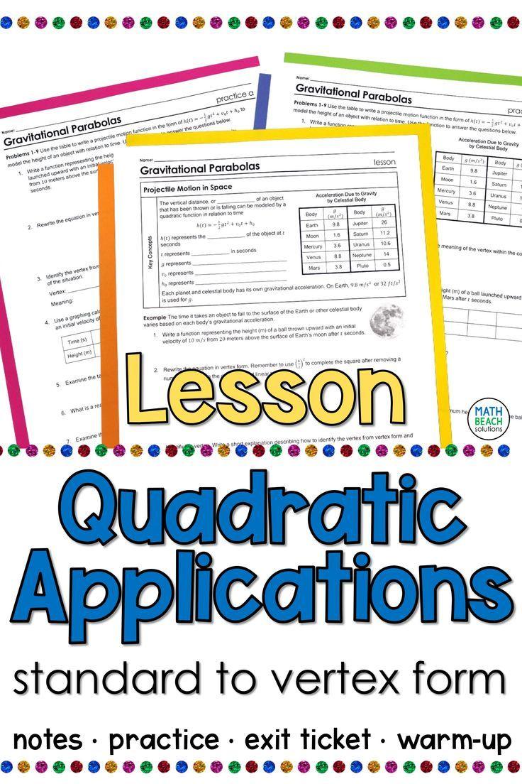 Quadratic Functions Applications Lesson In 2020 Quadratics Algebra Lesson Plans Practices Worksheets