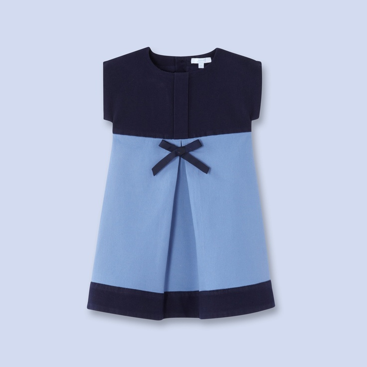 Two-tone canvas dress for boys and girls, girl