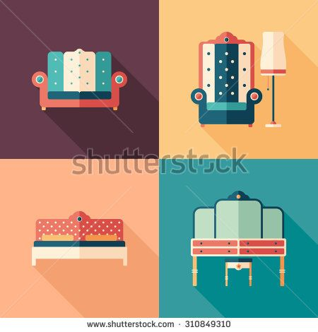 Art deco furniture flat square icons with long shadows. #homeinterior #homefurniture #flaticons #vectoricons #flatdesign