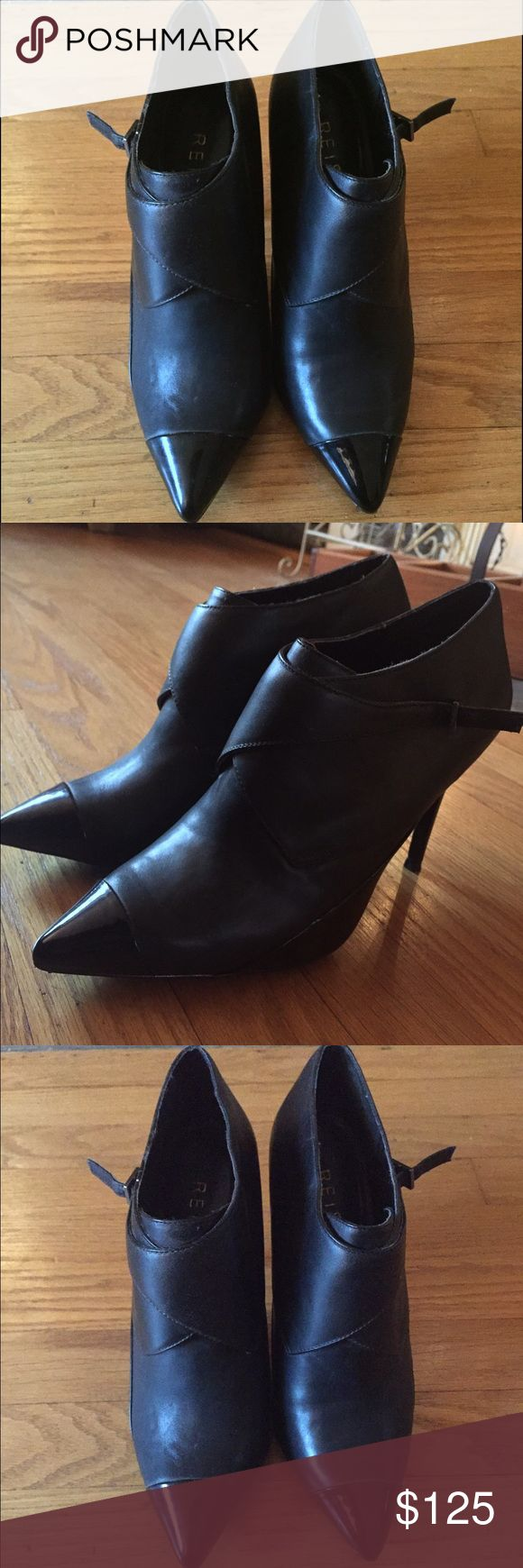 Black leather Reiss booties w/patent leather toe Black leather Reiss booties worn once with patent leather heel and toe Reiss Shoes Ankle Boots & Booties