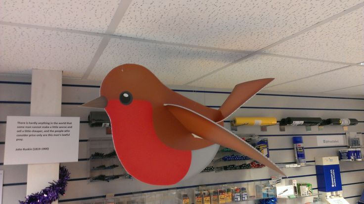 The John E Wright robin! Direct print onto 3mm Correx...Other decorations and in-store graphics/POS available for Christmas!