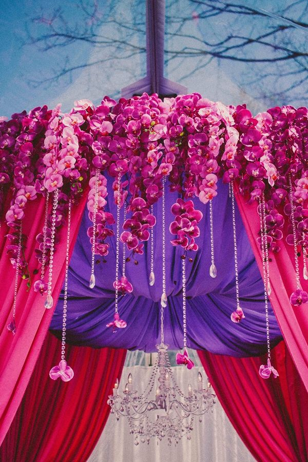 Mandap Decor.  Orchids for Mandap.  Indian wedding. Pink Mandap