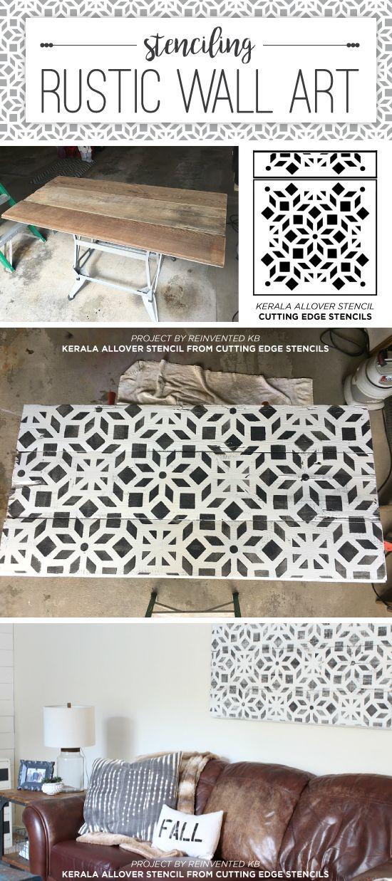 Cutting Edge Stencils shares how to stencil on wood to create rustic farmhouse wall art using the Kerala Allover Stencil. http://www.cuttingedgestencils.com/kerala-indian-stencil-geometric-pattern-stencils.html