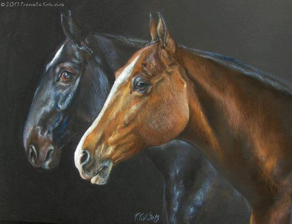 Horses portrait Original pastel drawing on black by CanisArtStudio
