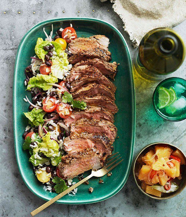 Pineapple-jerked pork neck with crushed pineapple relish and black bean and rice salad recipe - Gourmet Traveller