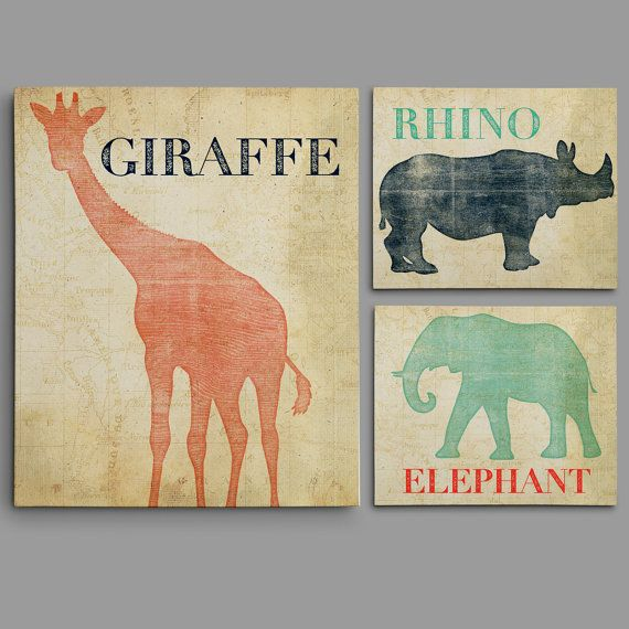 Set of 3 Safari Animal Nursery Wall Art - Safari Themed Nursery Prints - Giraffe, Elephant and Rhino Prints or Canvases