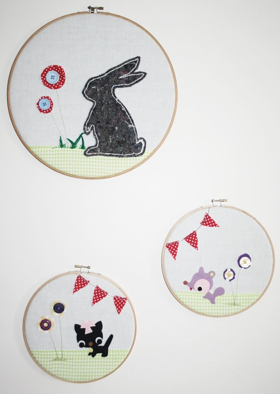Grey Bunny  Children's Embroidery Hoop Wall Art by tasha2shoes, $35.00