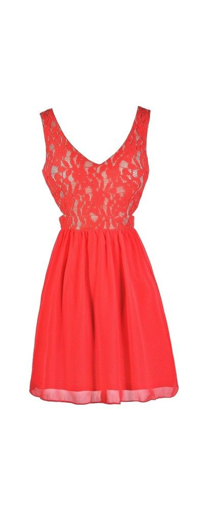 Cut Out For It Lace and Chiffon Dress in Coral  www.lilyboutique.com
