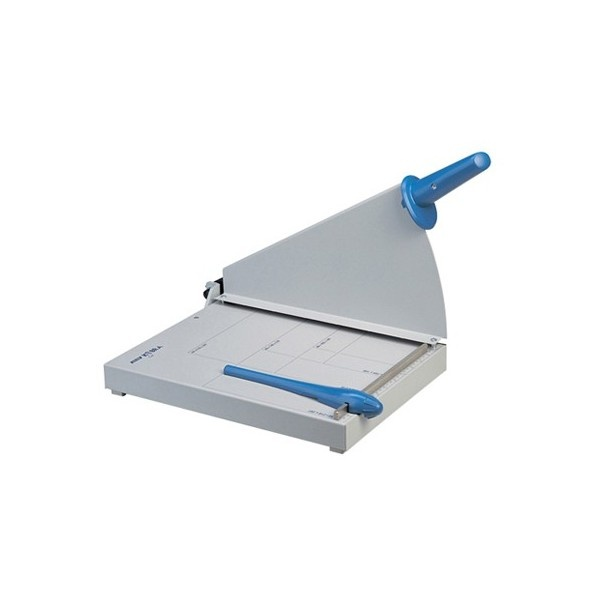Cizalla de palanca tipo guillotina  Capacidad de corte: 20 hojas de 70 g/m2  Longitud de corte: 360 mm  Medida de la base: 400 x 300 mm      Base sólida metálica, donde indica los distintos formatos de papel  Protección de seguridad metálica