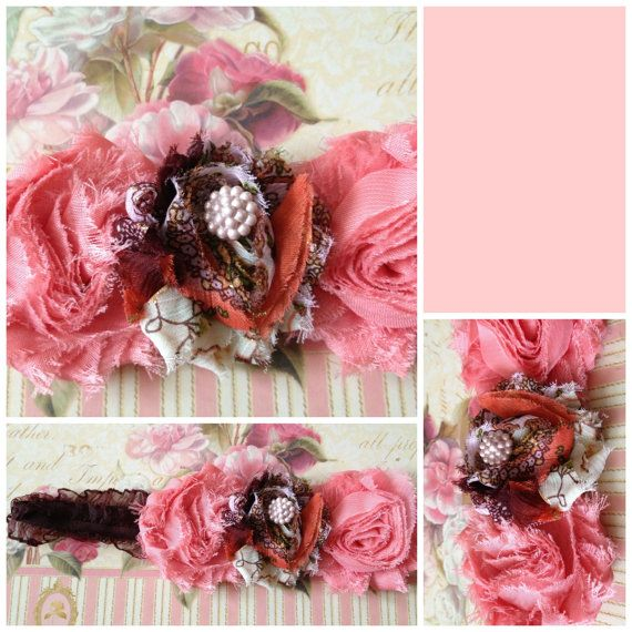 Tulle Flower Headband Shabby Chic Baby Rose