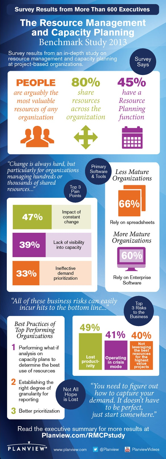 [Infographic] 2013 Resource Management and Capacity Planning Benchmark Study    More than 600 executives and managers in project-based organizations around the globe participated in the survey. Their responses helped determine:  Top resource planning pain points and their causes  The business risks of taking no action  Benefits of addressing resource management and capacity planning  Best practices around people, process and technology of the most mature, best performers