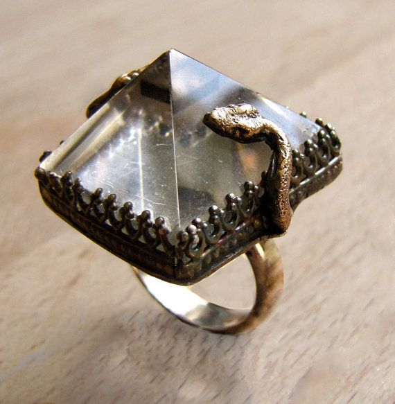 Handmade Snake Ring Quartz Rock Crystal Pyramid Sterling Jewelry Victorian Gothic Memorial Jewelry