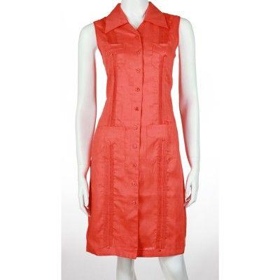 ladies irish linen dresses | Sleeveless guayabera dress. 100% irish linen | Mycubanstore.com