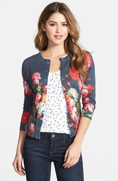 Free shipping and returns on Halogen® Floral Print Cardigan (Regular & Petite) at Nordstrom.com. A vintage floral print rendered in vibrant detail refreshes a classic crewneck cardigan cut with three-quarter sleeves.
