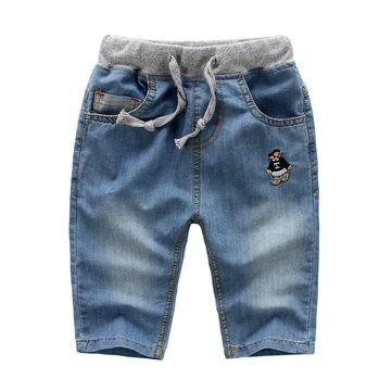 Дети Мальчик весна лето джинсы Сверхмягкие помыться Капри Брюки