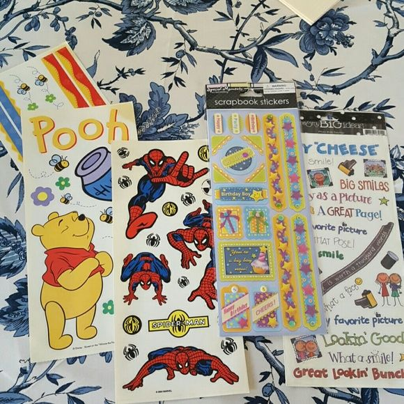 Pooh spiderman birthday boy scrapbook stickers Scrapbook sticker set. Includes all sheets in pbotos. Other