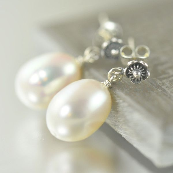 White Freshwater pearl flower post earrings, June Birthstone