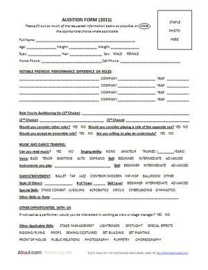 theatre audition form template 7 best Theater Forms images on Pinterest | Lights, Musical theatre ...