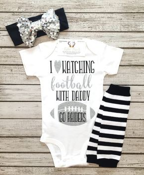 I Love Watching Football With Daddy Raiders Bodysuit Raiders Football Bodysuit for Girls - BellaPiccoli