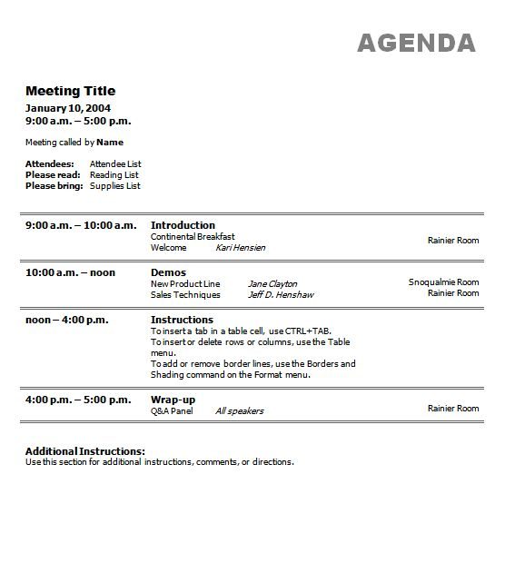 small business meeting agenda Template – Format of an Agenda