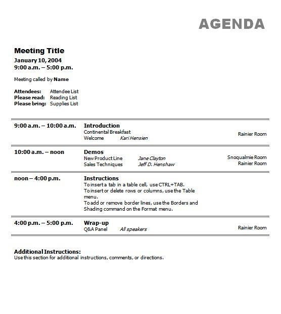agenda templates | Business Meeting Agenda Template