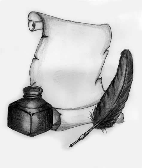 Tattoo ideas// Quill, Scroll and Ink by ~MP3Designs on deviantART