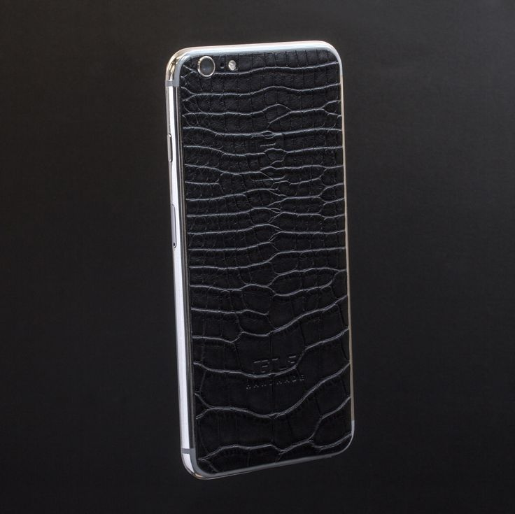 iPhone 6s with black matte aligator leather and silver rhodium body. See more custom phones at rarus-exclusive.com