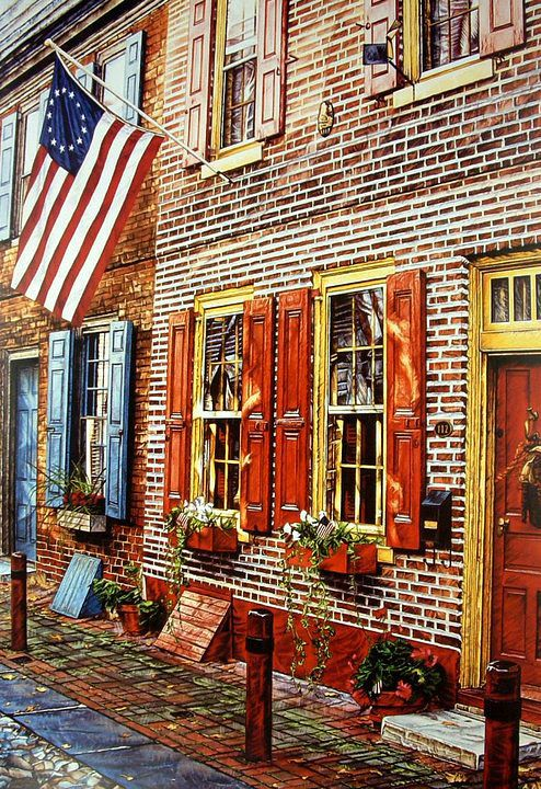 "Elfreth's Alley by Beth Palser Offset Lithographic Print ~ 28  3/4"" x 19"""